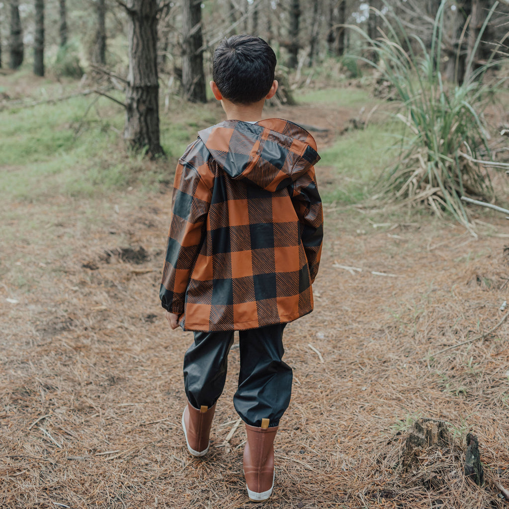 Crywolf Play Jacket Rust Plaid Raincoat - PRE-ORDER (Stock due early March 21)