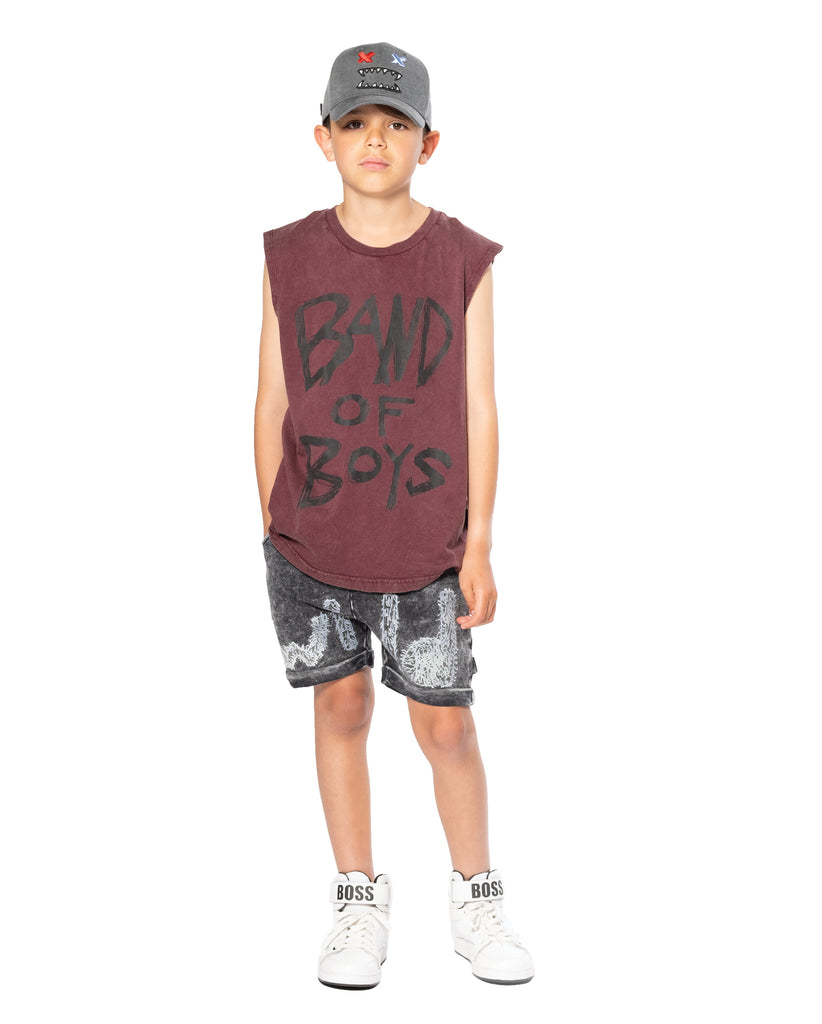band of boys logo muscle tank vintage red