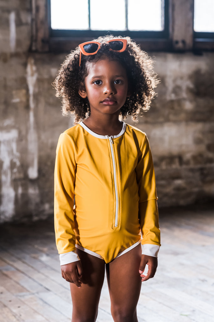 rock your baby - mustard lucille - l/s one-piece bathers