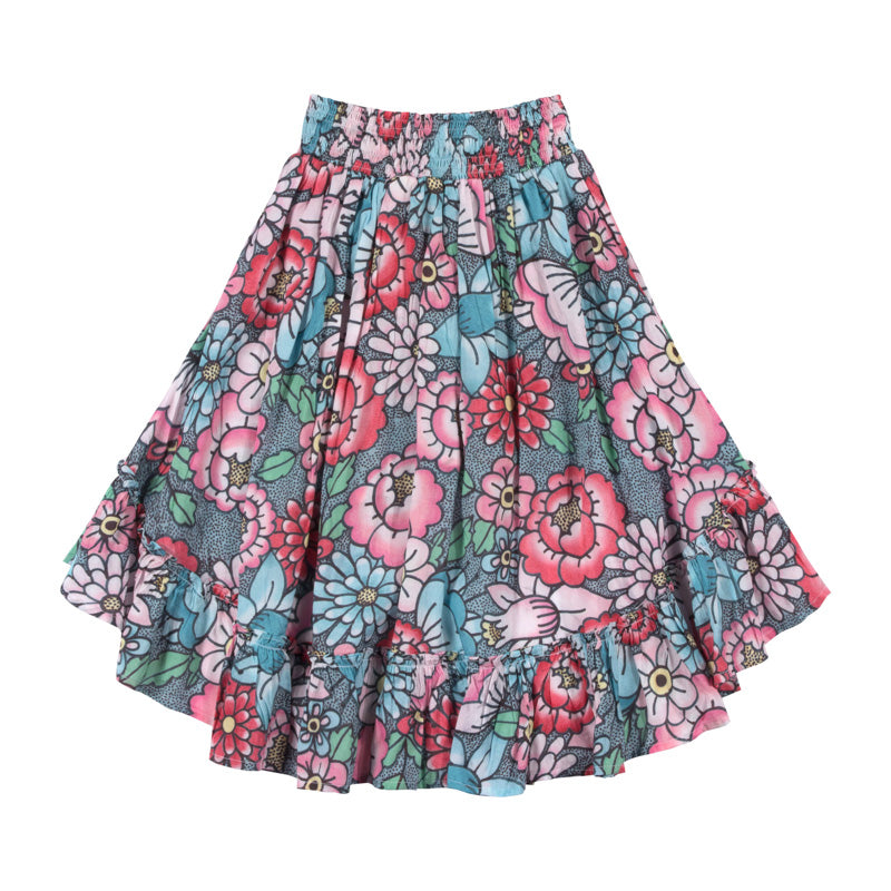 paper wings shirred hilo skirt - tattoo flowers