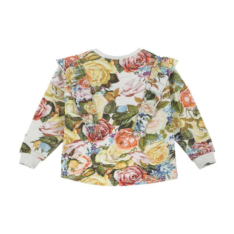 Paper wings frilled sweater - winter rose