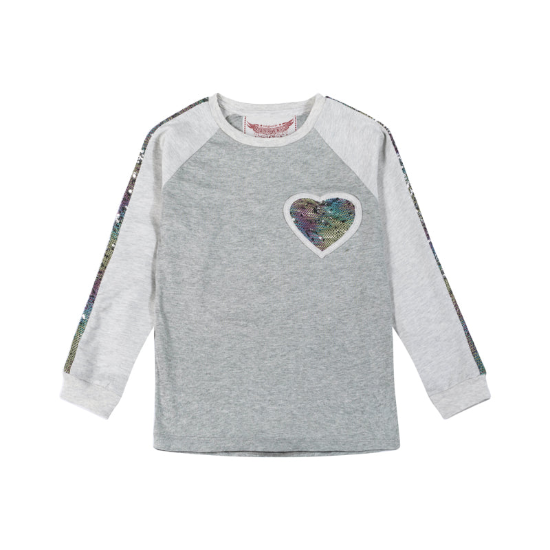 Paper wings - long sleeve raglan tee - rainbow sequin