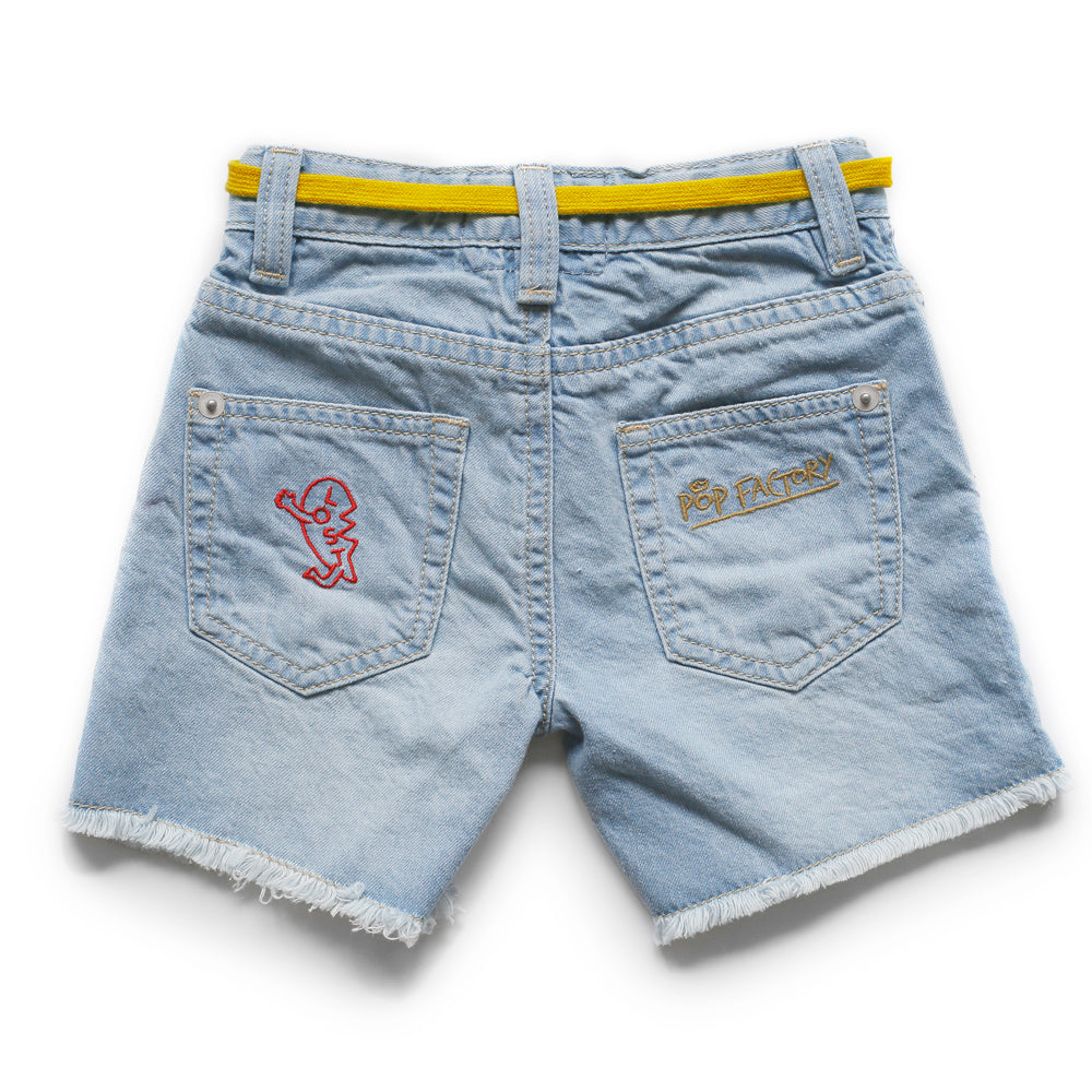 pop factory denim patch cut off shorts