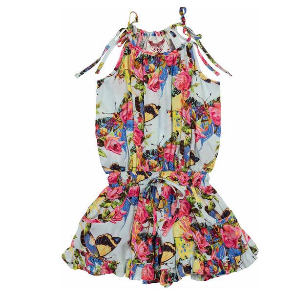 paper wings butterflies and roses frilled romper