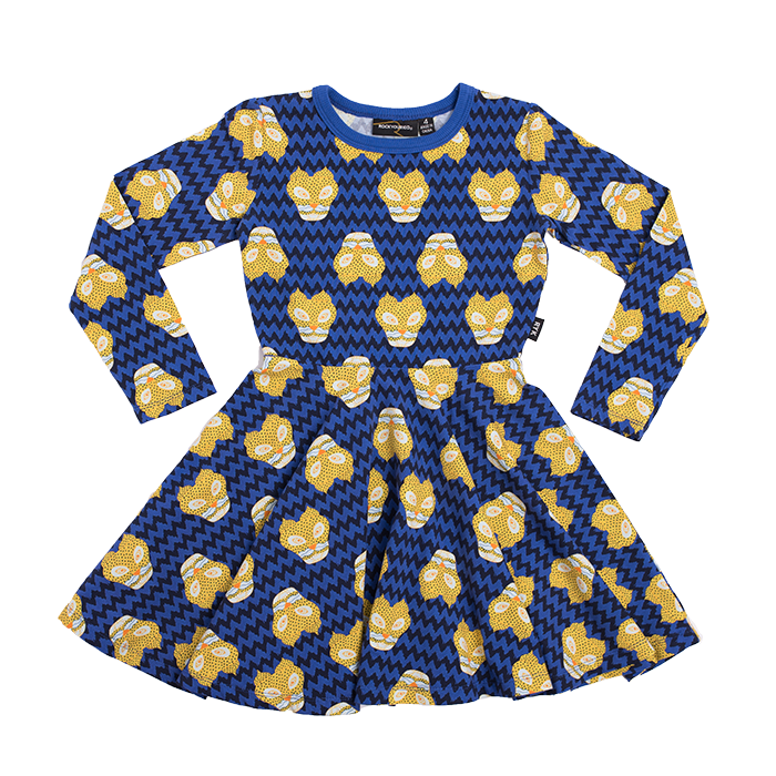 rock your kid kalahari leopard l/s waisted dress