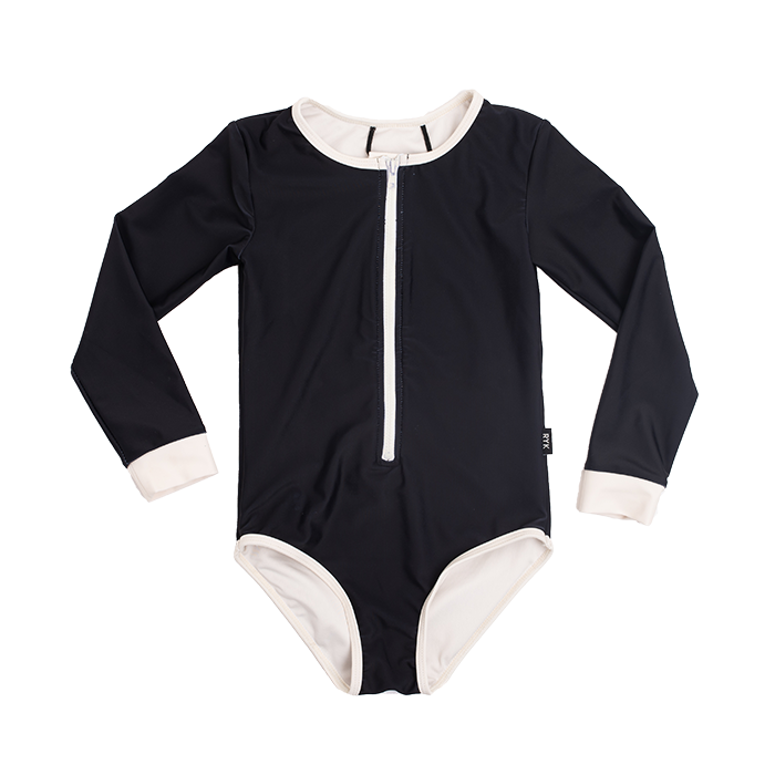 rock your baby - black lucille - l/s one-piece bathers