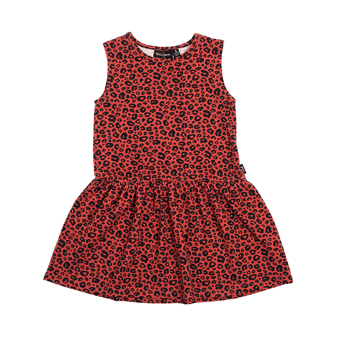 rock your baby red leopard - drop waist dress