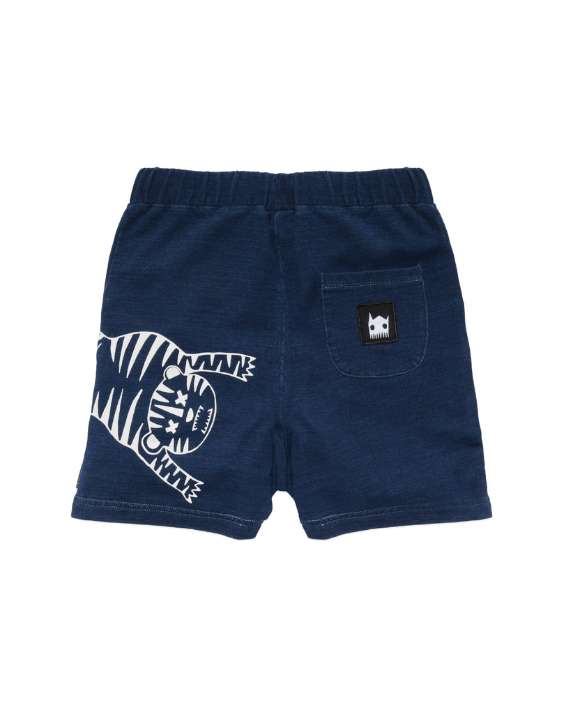 band of boys tiger outline blue denim look shorts