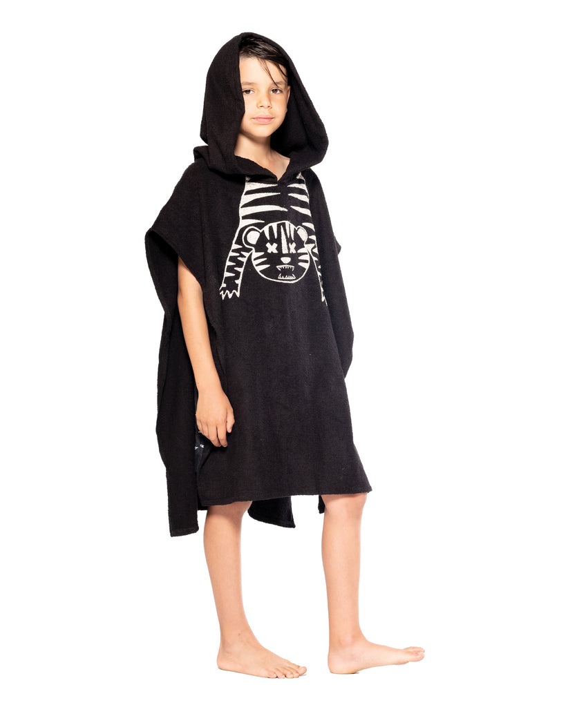 band of boys tiger outline hooded towel
