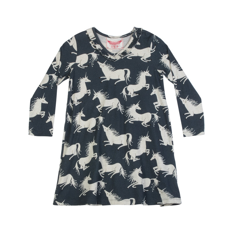 Paper wings frilled shift dress - unicorns