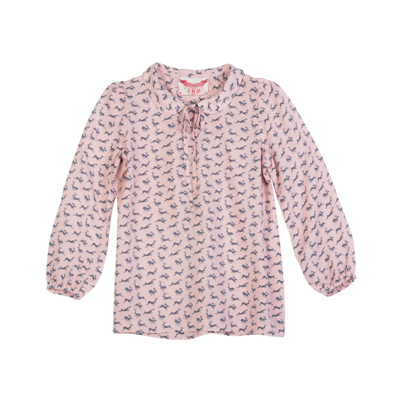 paper wings pink flower field smock top