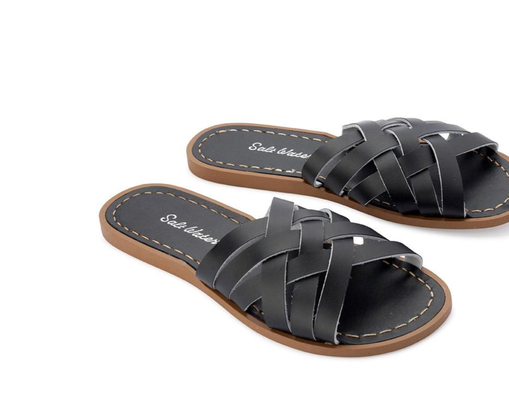 Saltwater sandals women's retro slides - black