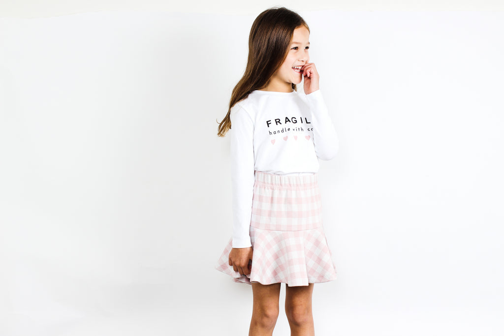 TINY TRIBE CHECK RUFFLE SKIRT
