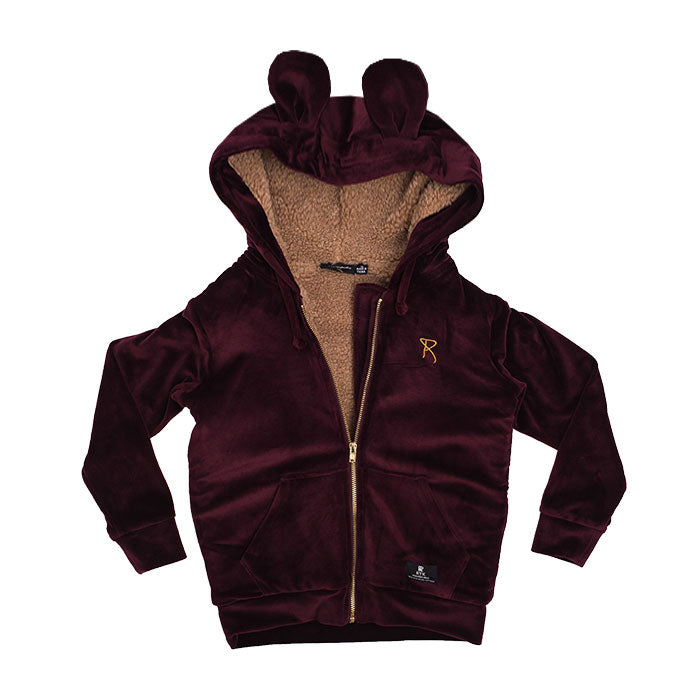 rock your kid velvet hoodie - plum