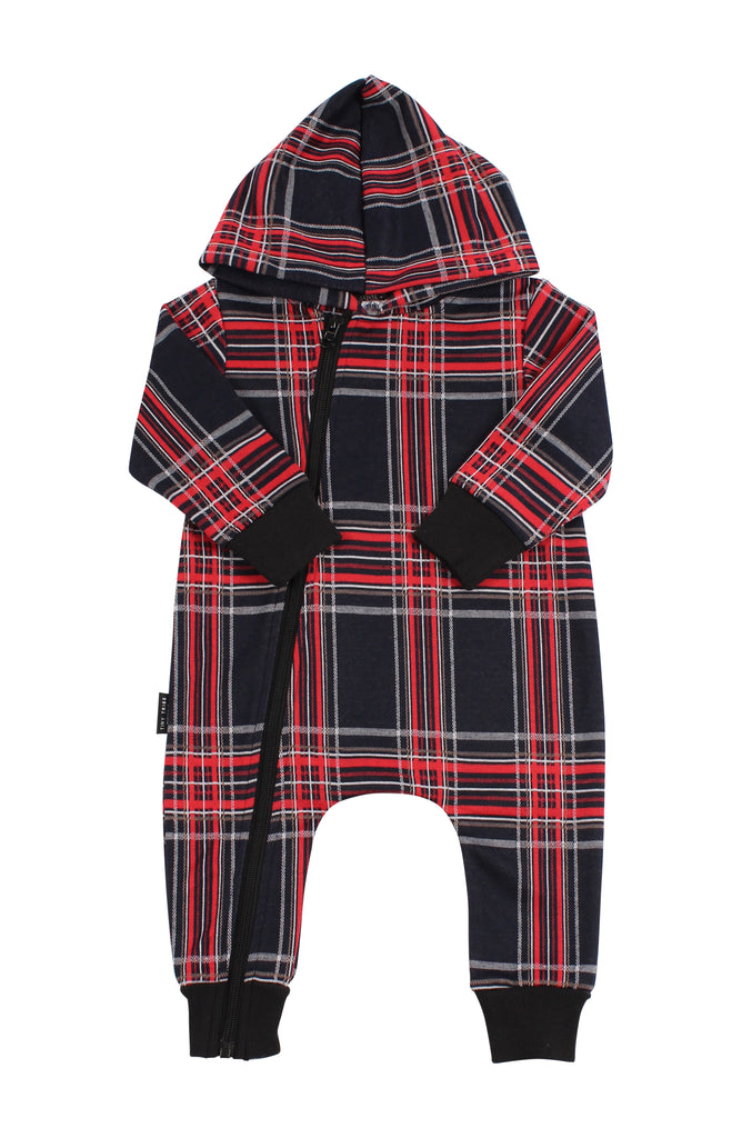 TINY TRIBE CHECK HOODED ROMPER