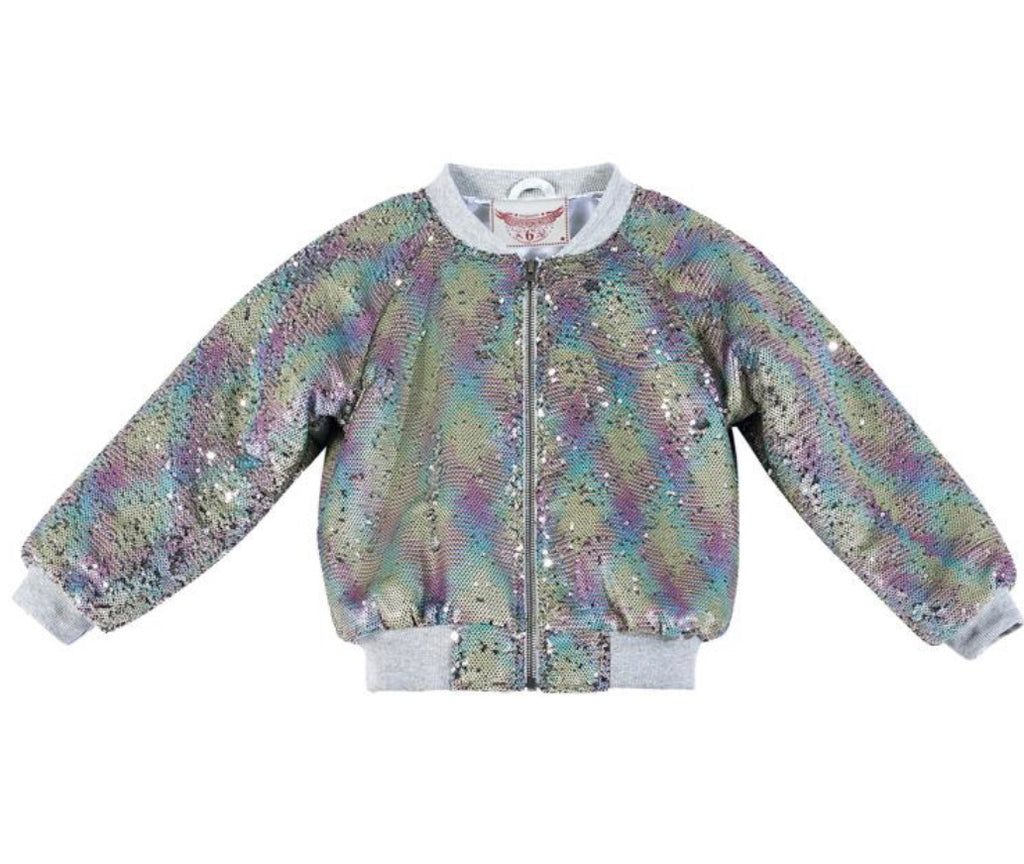 Paper wings sequin bomber