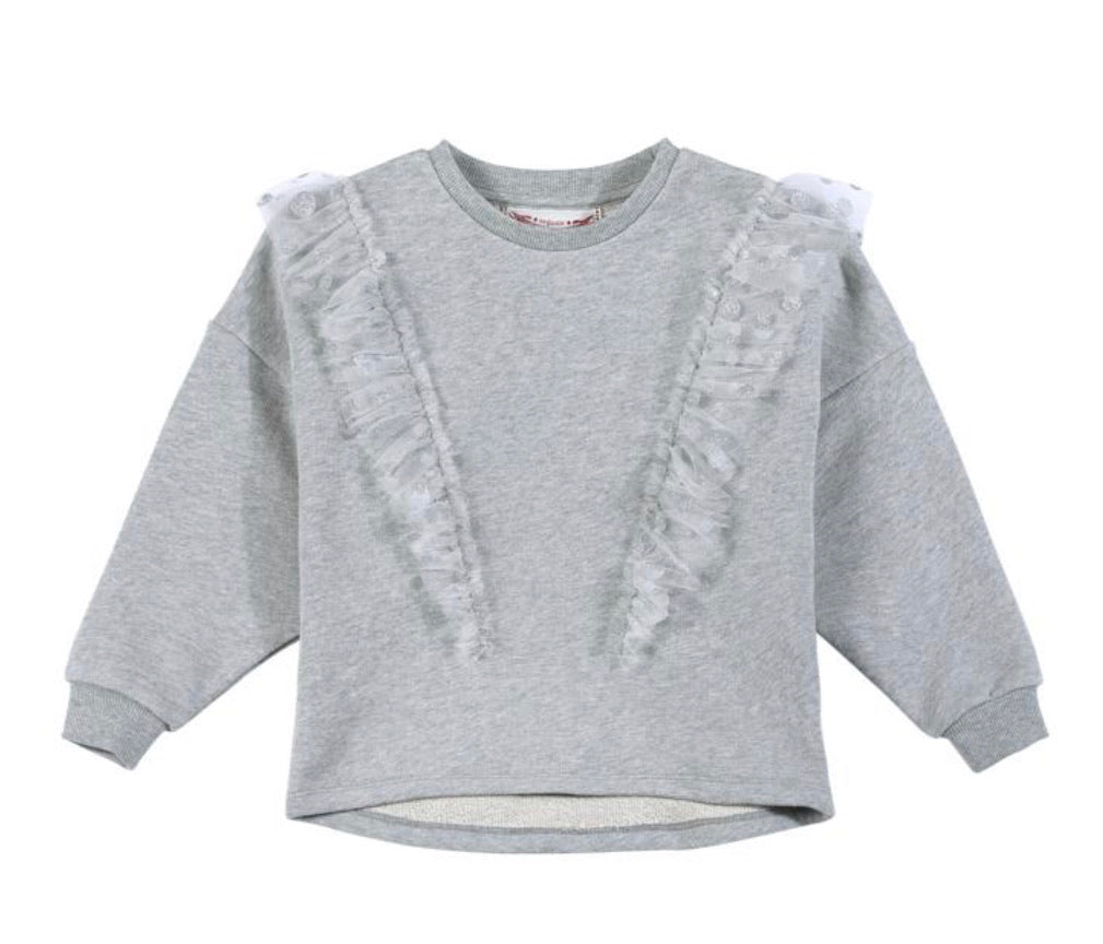 Paper wings frilled sweater - spot mesh