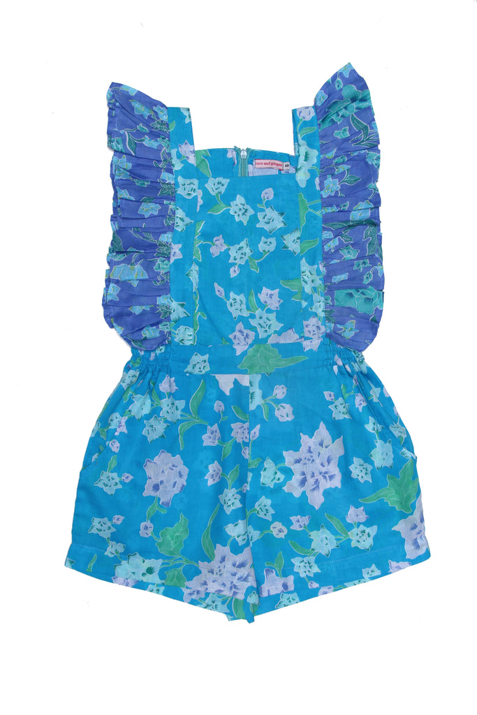Coco & Ginger Tulip Playsuit Blue Patchwork Batik