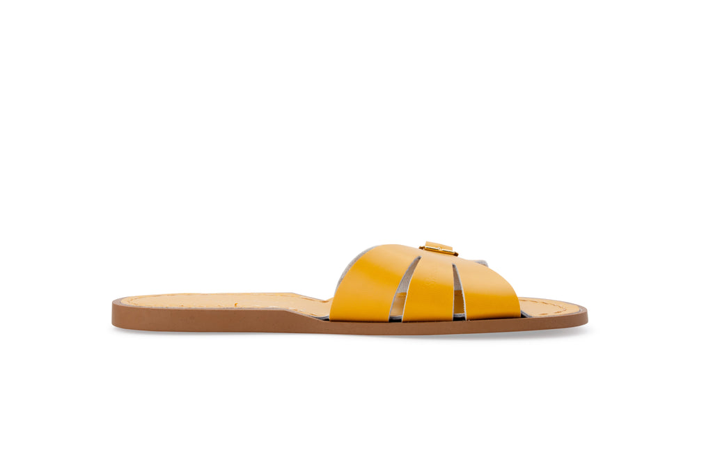 Salt water sandals women's slides mustard