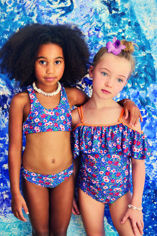 Coco and Ginger- COVE One Piece w/ frill- azure gypsy flowers