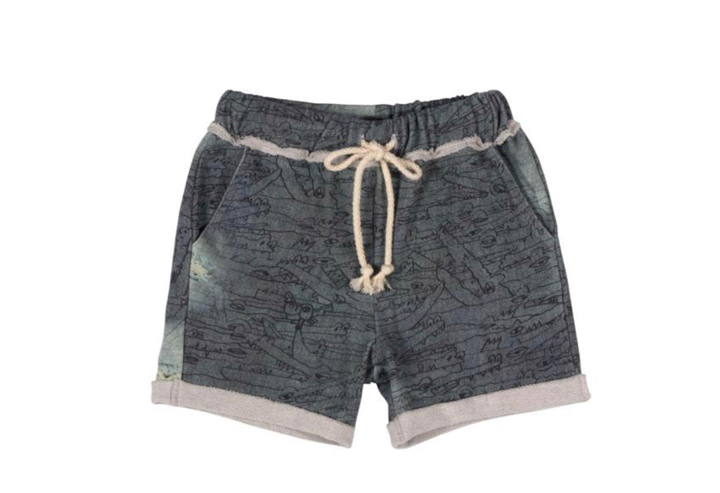 paper wings cuff trackie shorts - gators denim