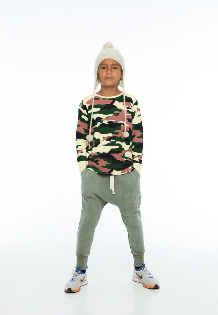 ZUTTION KIDS LOW CROTCH TRACKIE PANTS - ARMY