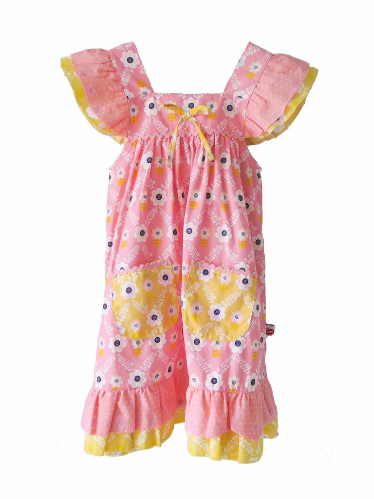 Oobi - Holly Dress - Pink Diamond Flower