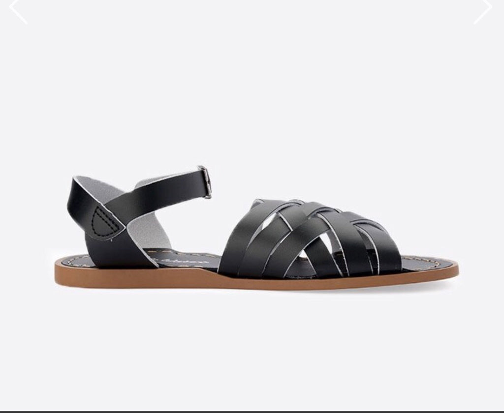 Saltwater sandals women's retro sandals - black