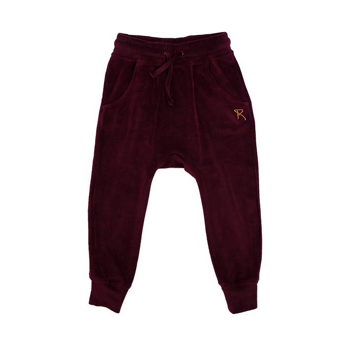rock your kid velvet track pants - plum