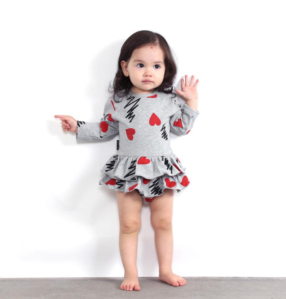 TINY TRIBE HEART FRILL SNAPSUIT
