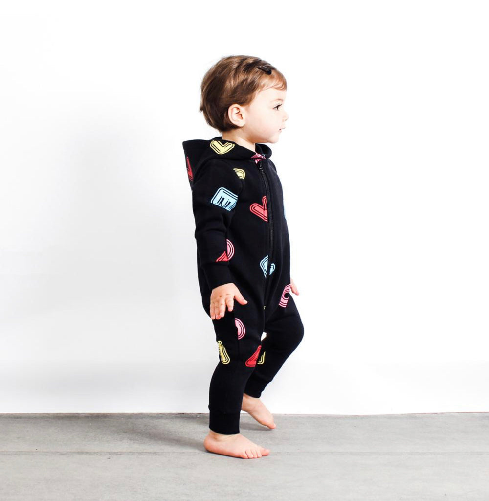 TINY TRIBE LOVE HOODED ROMPER