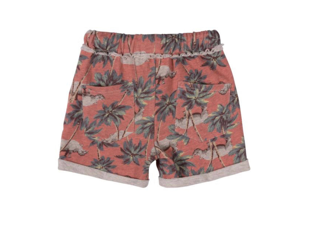 paper wings cuff trackie shorts - red jungle rhino