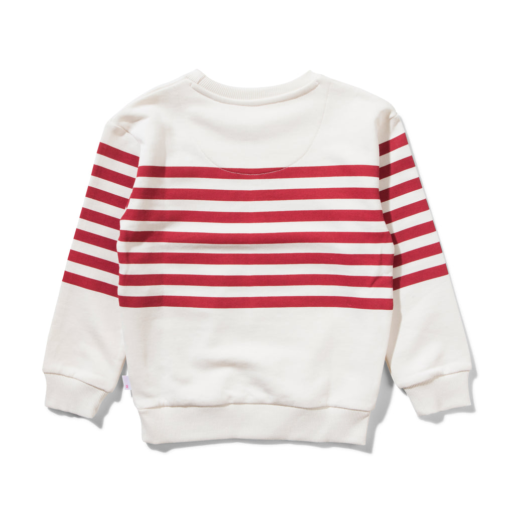 Missie Munster mr fox unbrushed fleece crew with printed stripe