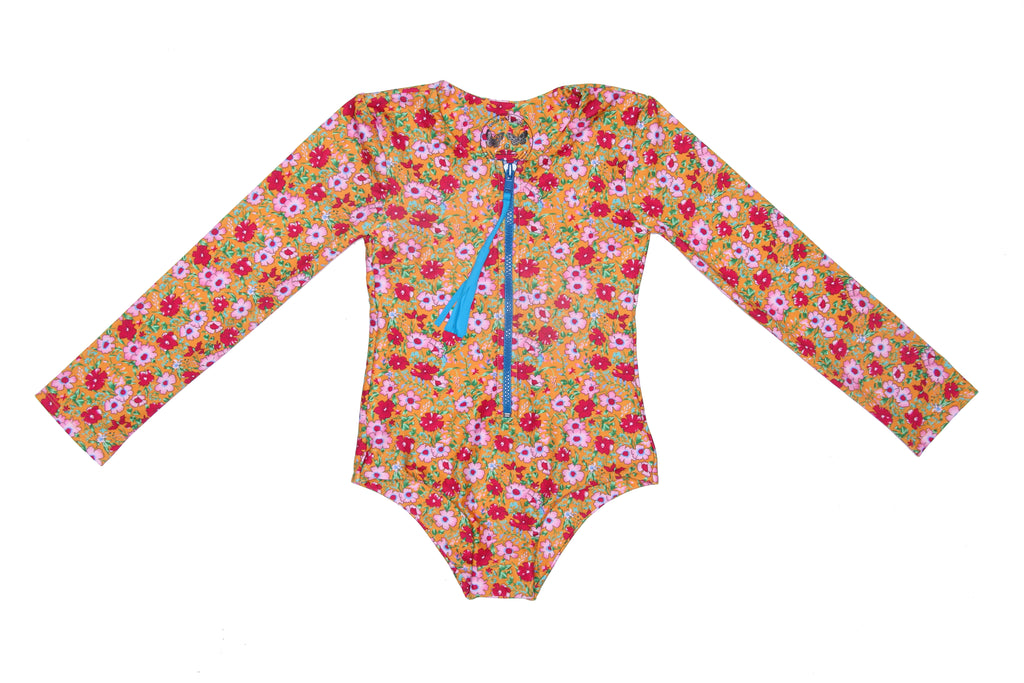 Coco and Ginger- COVE One Piece Rash Vest - Saffron indian Flowers