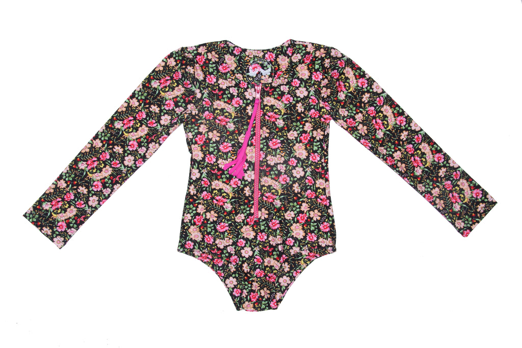 Coco and Ginger- COVE One Piece Rash Vest - Midnight Indian Flowers