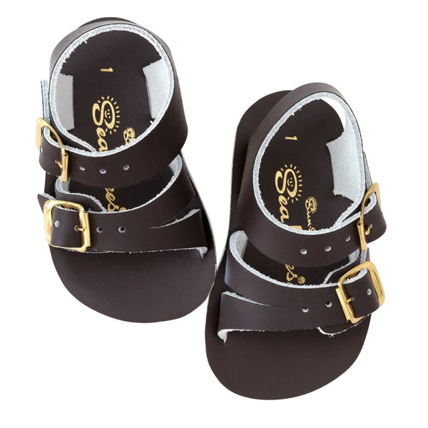 salt water sandals sun san sea wees brown