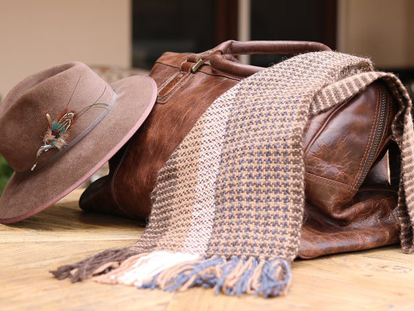 Hand Woven Brown/Blue Multi Scarf