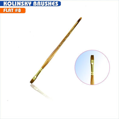 #8 Flat Kolinsky Brush