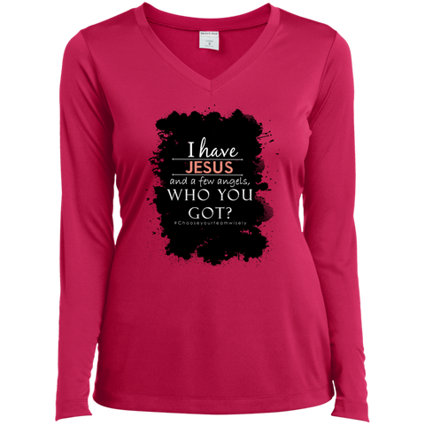 Ladies Long Sleeve Performance Vneck Tee Pink #Chooseyourteamwisely