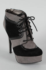 Dollhouse Fly Two Tone Lace Up Platform Bootie