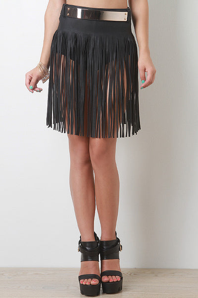 Fringed Leatherette Skirt Belt