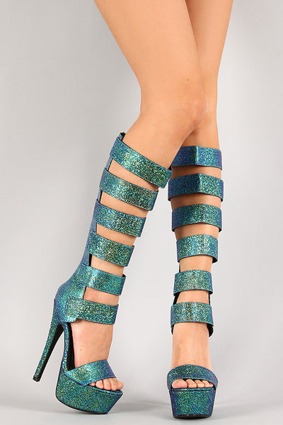 Anne Michelle Iridescent Strappy Open Toe Knee High Heel - JDI Threads