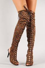 Breckelle Leopard Lace Up Back Cut Out Over-The-Knee Boot