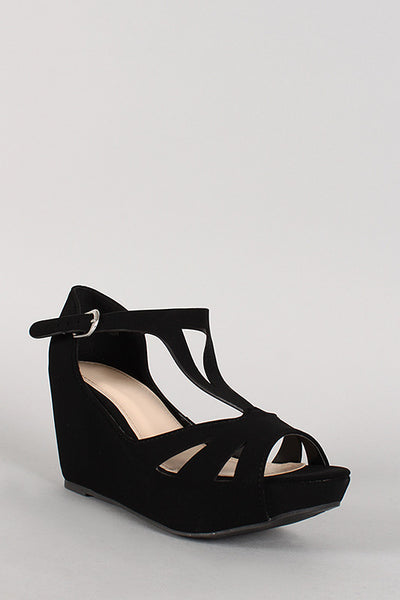 Bamboo Nubuck Buckle Cut Out Open Toe Platform Wedge