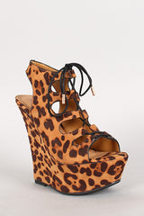 Dollhouse Leopard Cutout Lace Up Platform Wedge