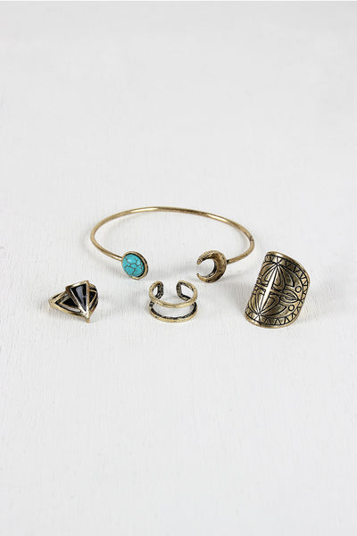 Stone Moon Torc Bracelet and Rings Set