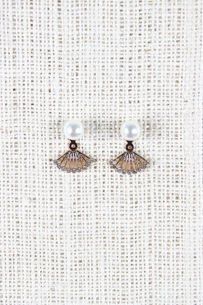 Pearl Fan Ear Jacket Earrings