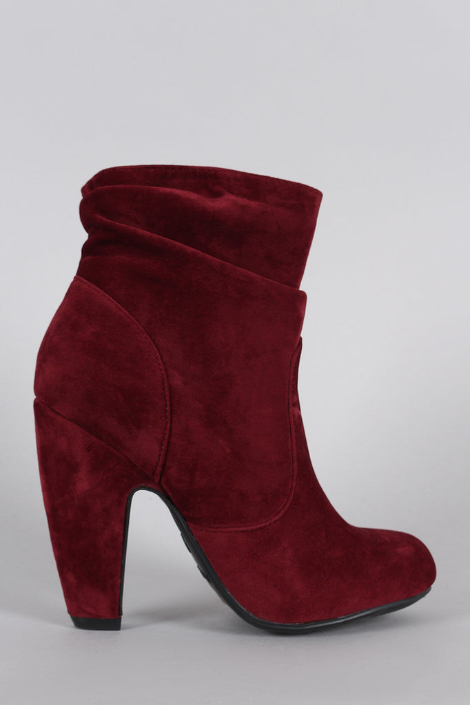 Bamboo Suede Slouchy Round Toe Platform Heeled Booties