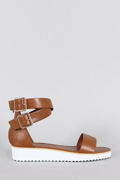 Bamboo Leather Ankle Straps Flatform Sandal
