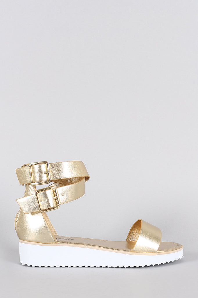 Bamboo Leather Ankle Straps Flatform Sandal - JDI Threads